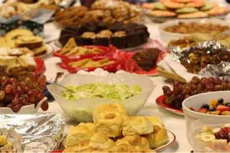 image of a potluck meal on a table