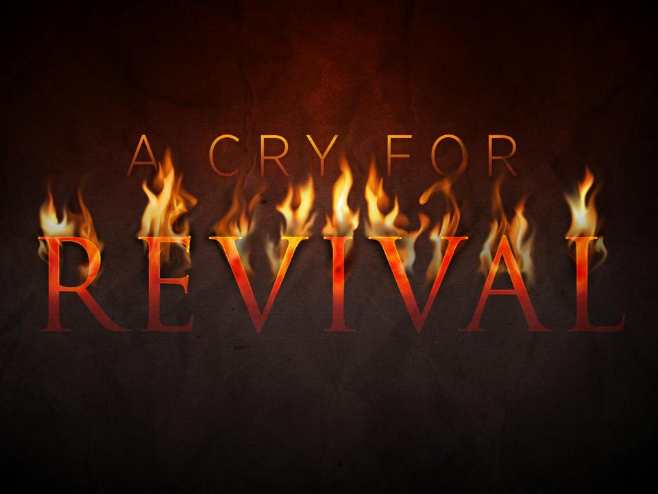 Picture of fire with the words a cry for revival