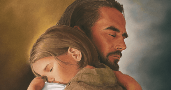 Image of a little child hugging Jesus